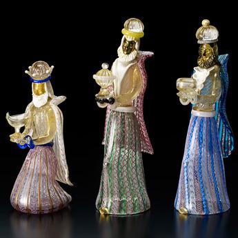 展示作品のご紹介:ガラスのプレセピオ「東方の三博士」