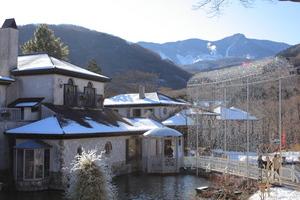 雪化粧した大涌谷