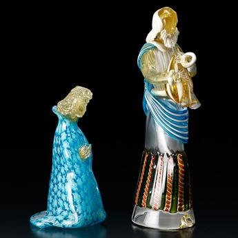 展示作品のご紹介:ガラスのプレゼピオ「パウロ像」「ヨハネ像」