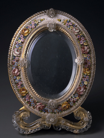 花装飾モザイク鏡