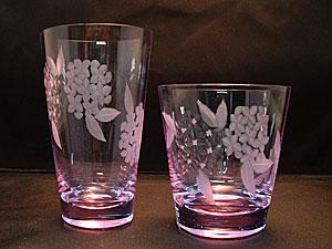 紫陽花切子グラス