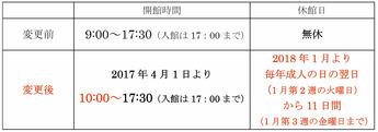 開館時間変更と休館日設定のお知らせ