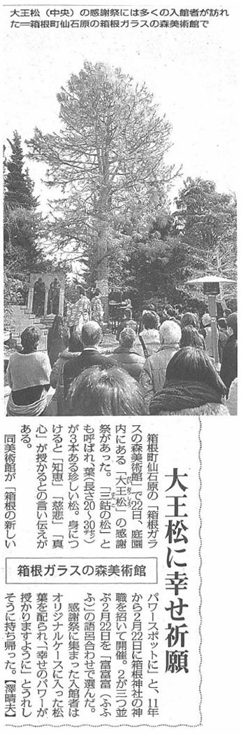 毎日新聞神奈川県版:大王松感謝祭